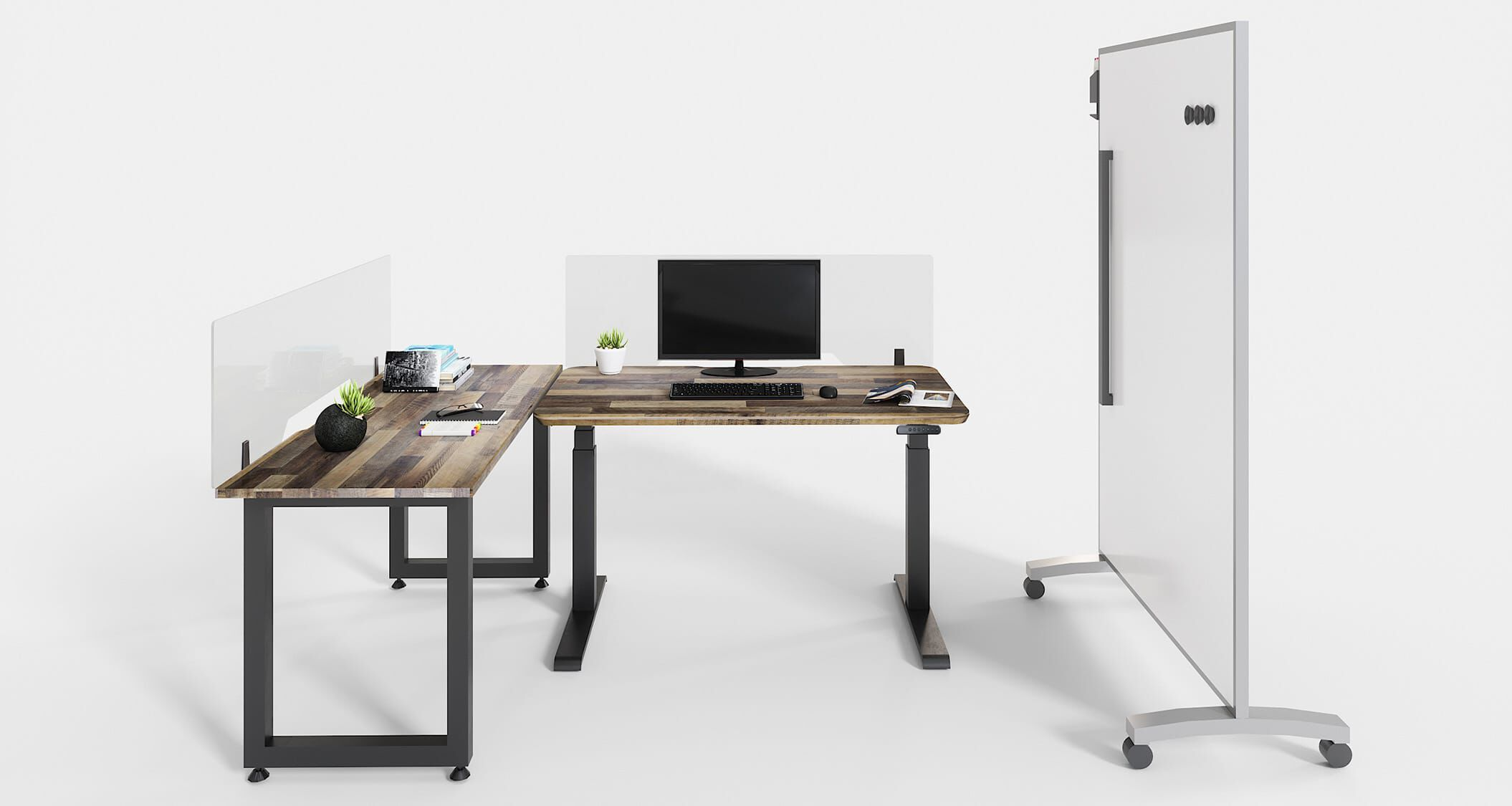 healthy workspace created with Vari products on white background
