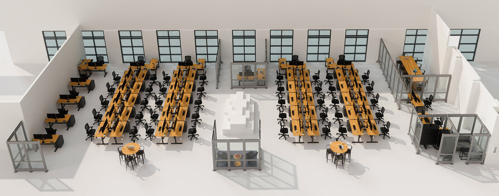 pre-covid layout of workspaces at Vari headquarters