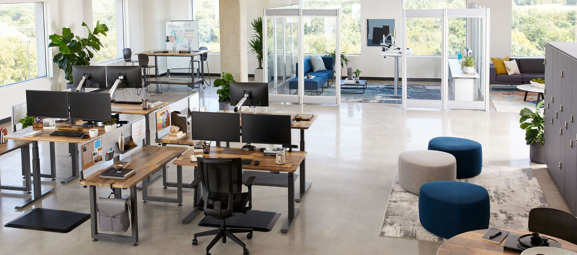 open office layout of vari products
