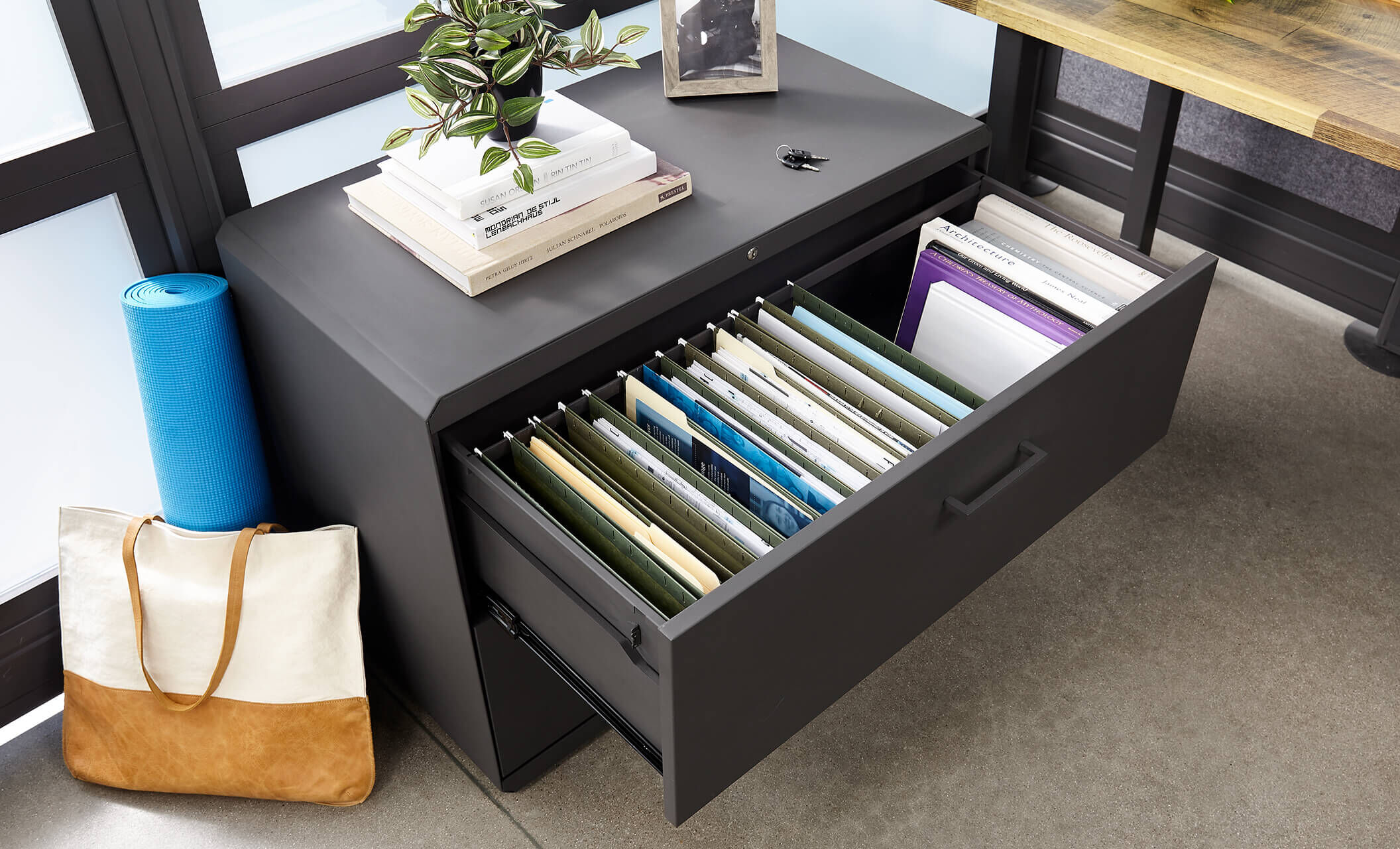 lateral file cabinet with open drawer