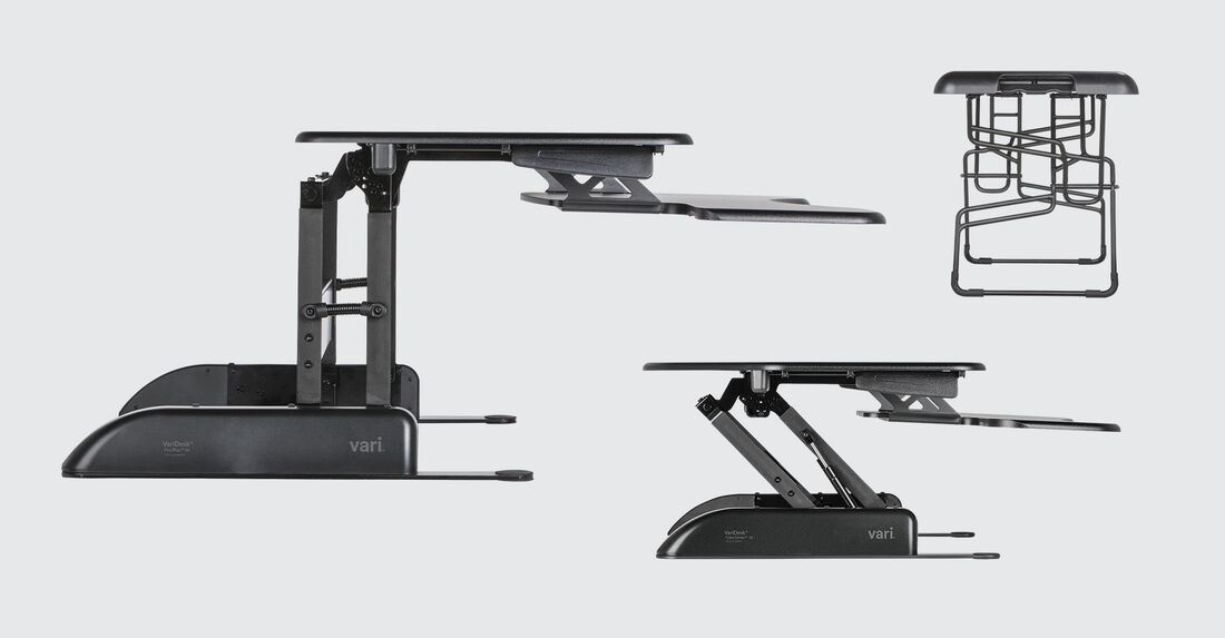 Side views of variety of black standing desk solutions