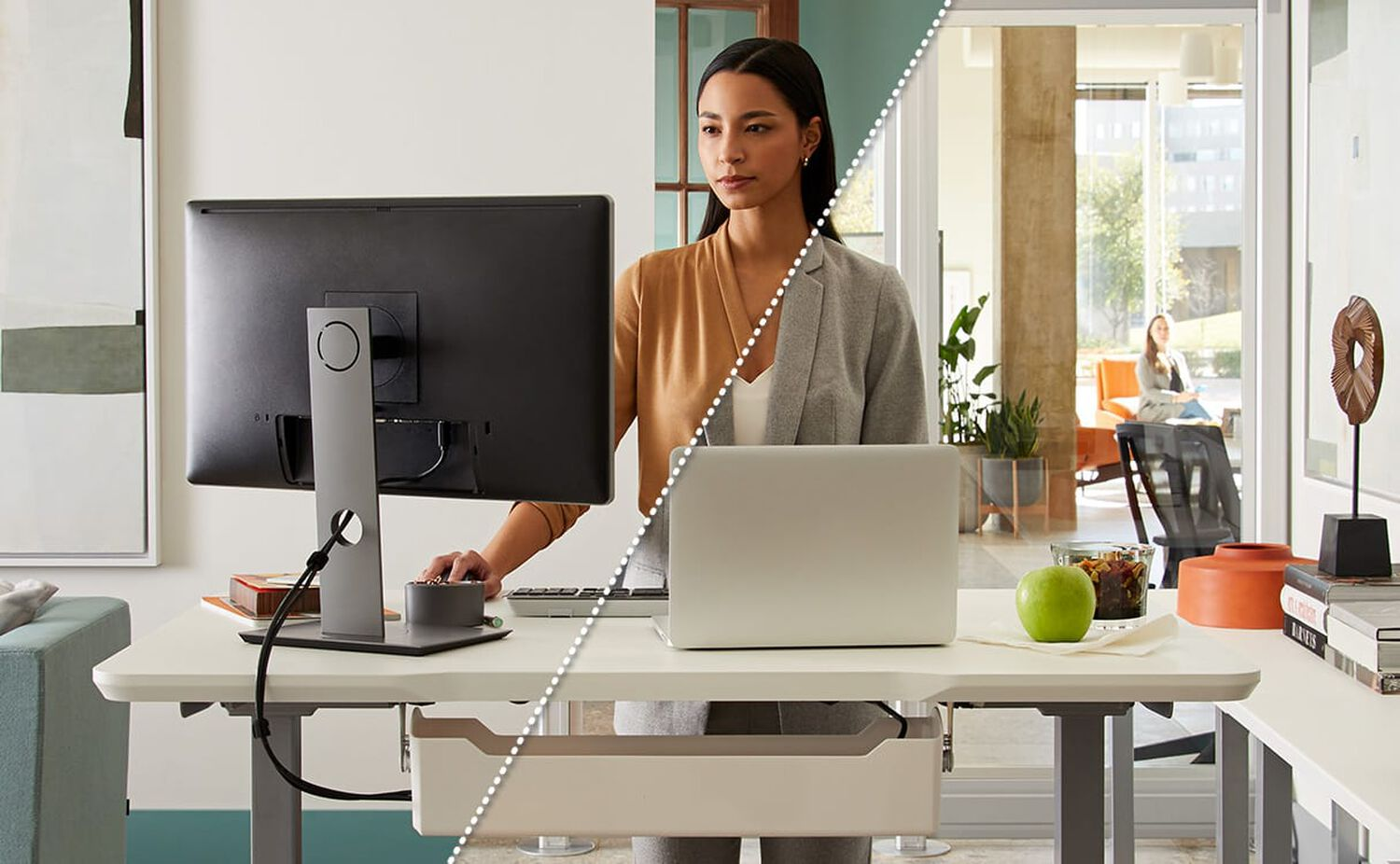 professional working at electric standing desk in home and office setting