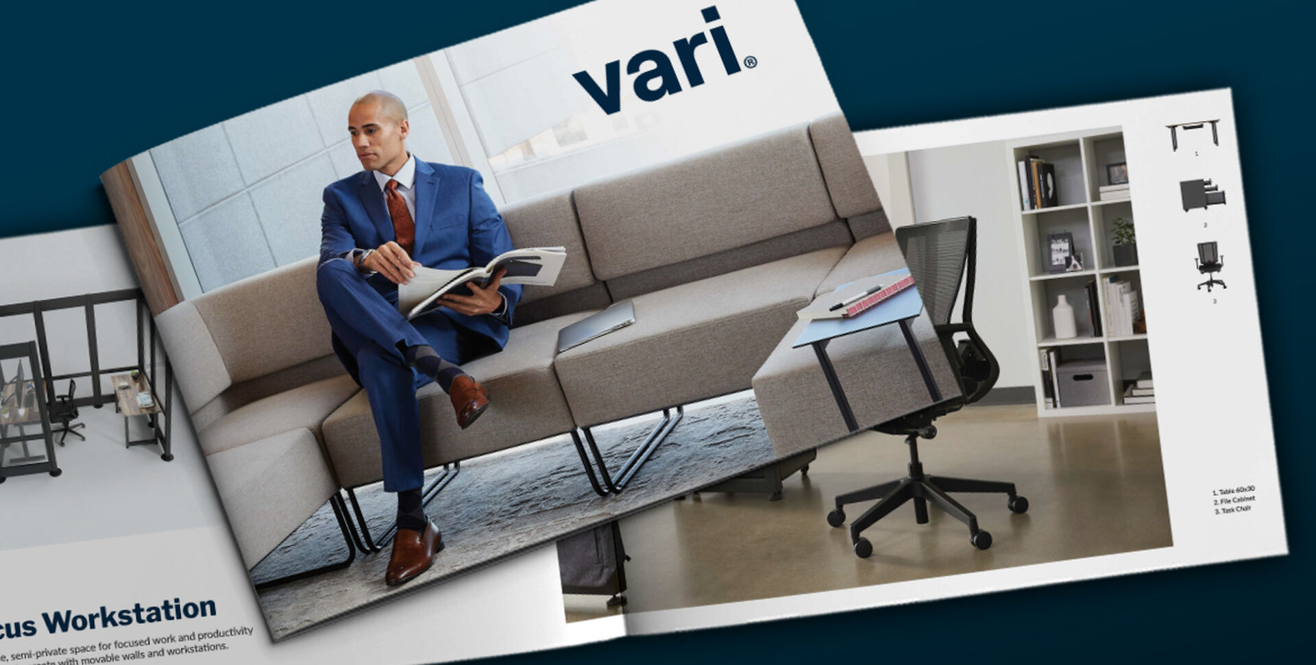 cover of lookbook features professional seated on sectional sofa in office