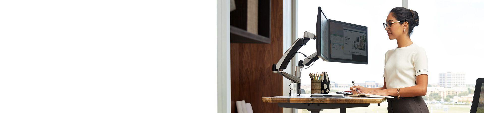 vari electric standing desk in use