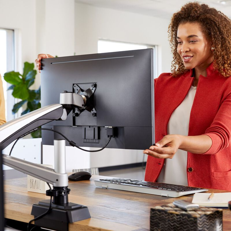 Professional adjusting monitor mounted on single monitor arm  image number null