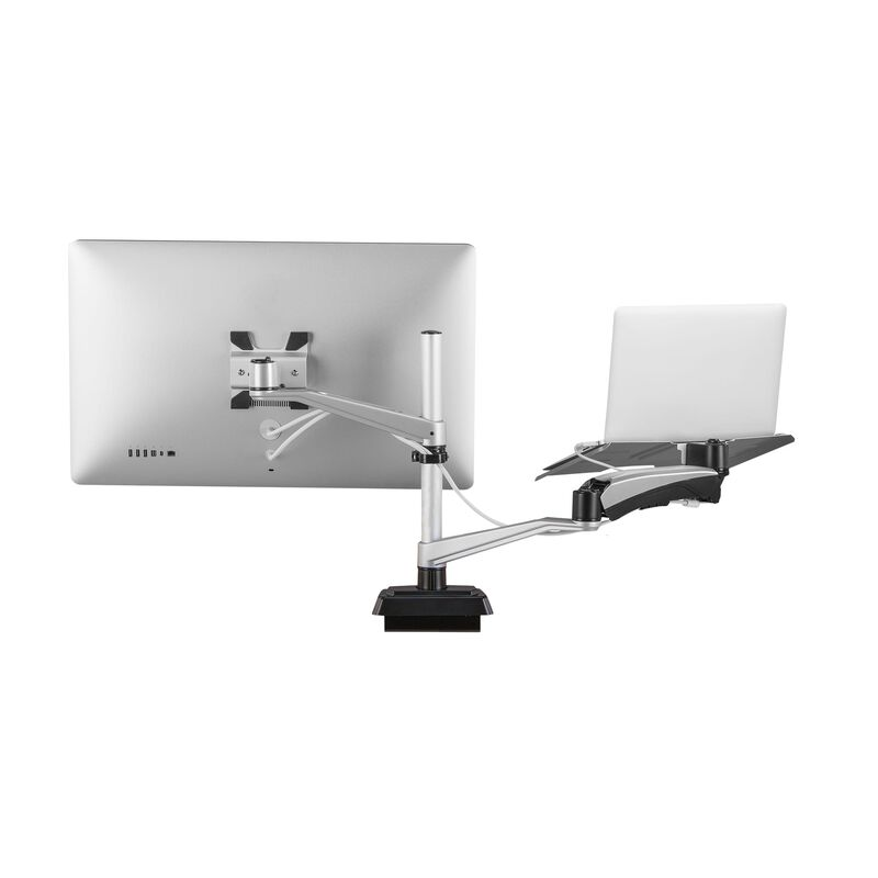 Monitor Arm + Laptop Stand with one monitor and laptop on white background image number null