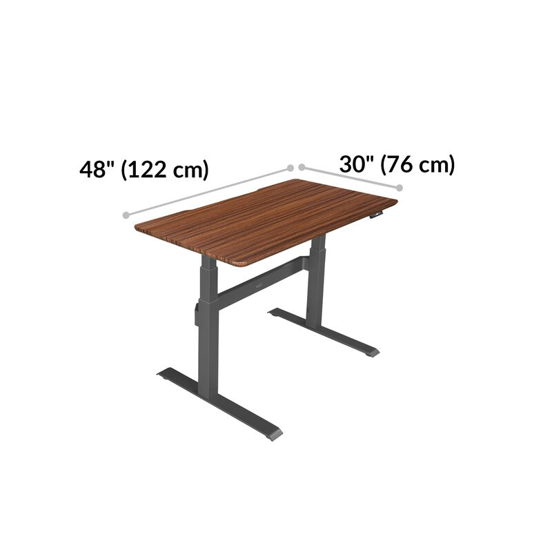 Electric Standing Desk 48x30 Darkwood base is 30 inches deep and 48 inches wide image number null
