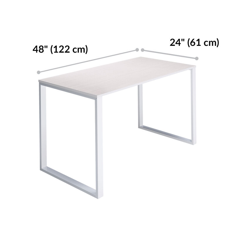 Essential Desk 48x24 Two Leg in ash wood is 48 inches wide and 24 inches deep image number null