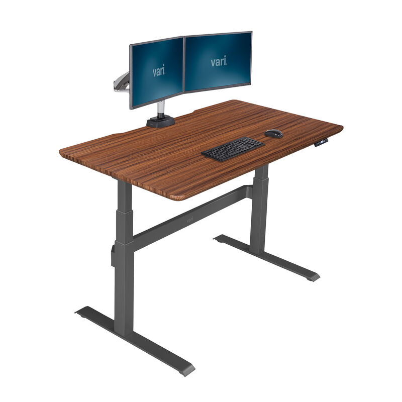 Electric Standing Desk 60x30 Darkwood in raised position image number null