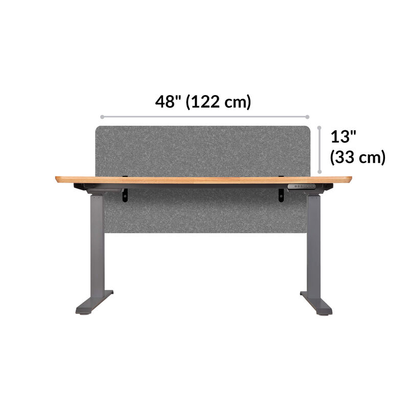 Vari felt panel 48 in light gray is 48 inches wide and sits 13 inches above the desk image number null