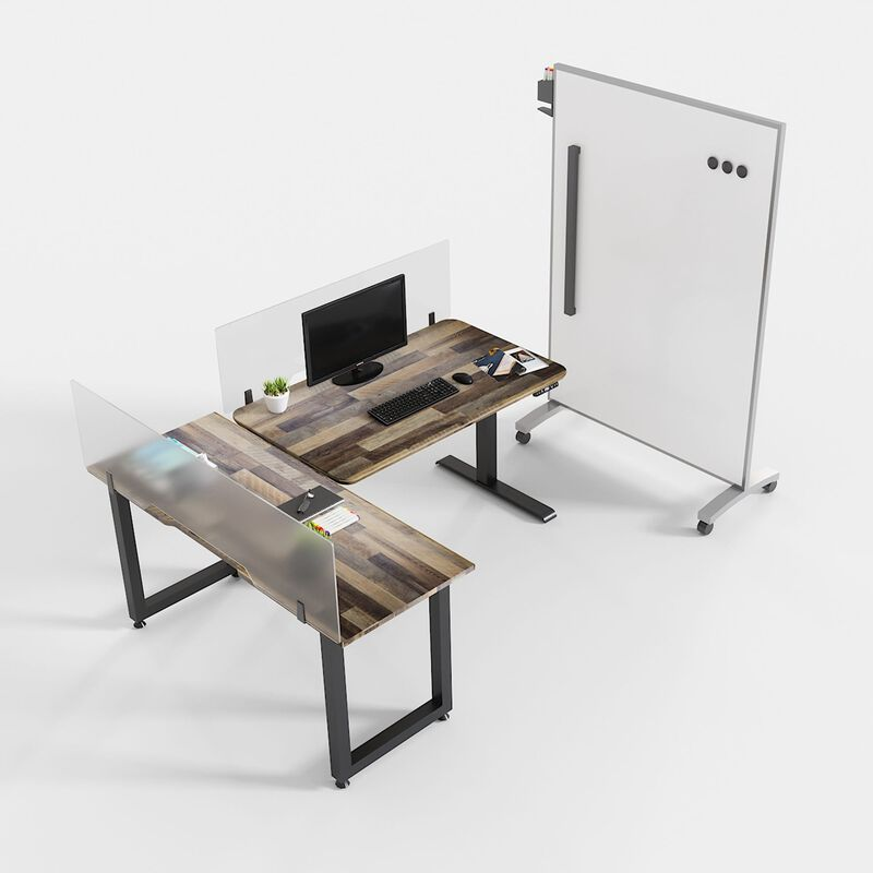 Personal workstation made with added panels, marker board, and table for increased distance image number null