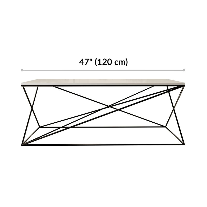 lounge table is 47 inches wide and 17 and 3 quarter inches tall  image number null