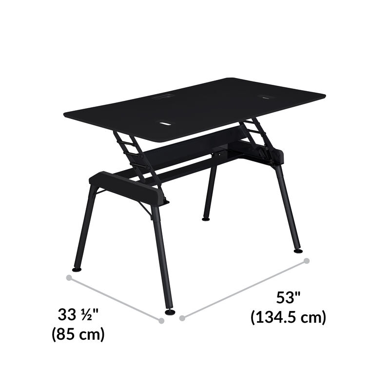 Standing Desk 60x34 Black base is 33.5 inches deep and 53 inches wide image number null