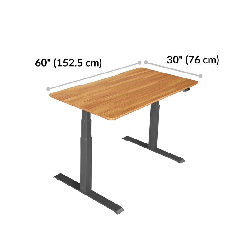 Electric Standing Desk 60x30 Butcher Block base is 30 inches deep and 60 inches wide image number null