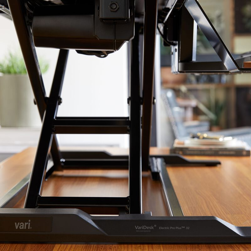 VariDesk® Electric Pro Plus™ 32 Black in raised position with mechanism shown image number null
