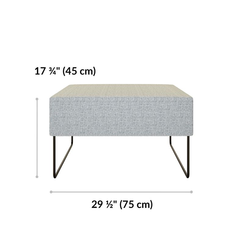 light grey ottoman is 17 and 3 quarter inches tall and 29 and a half inches wide image number null