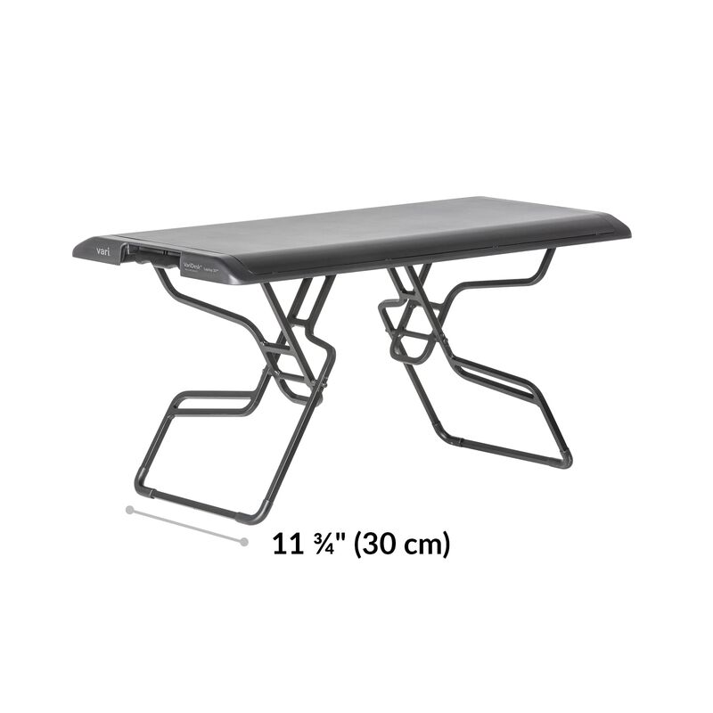 VariDesk® Laptop 30™ Black base is 11.75 inches deep image number null