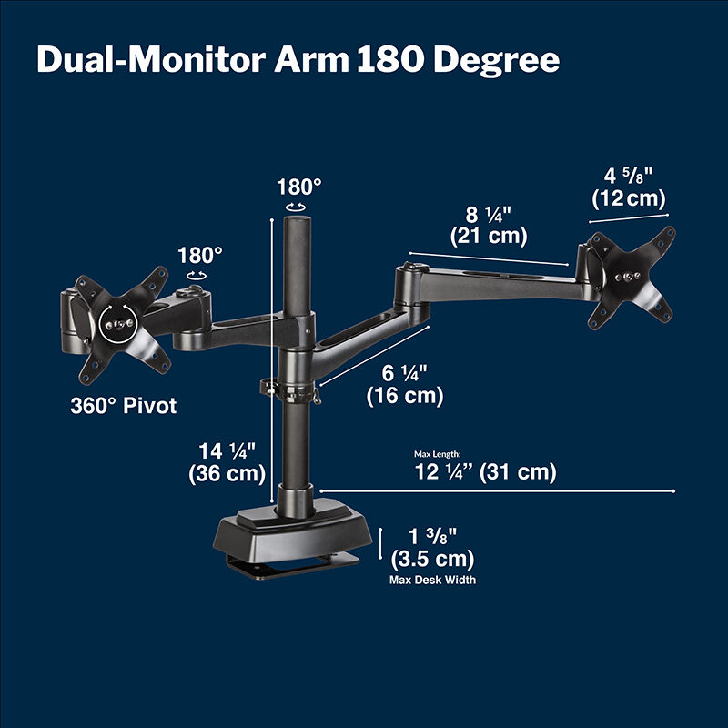 Dual-Monitor Arm 180° Black rotates monitors 180° image number null