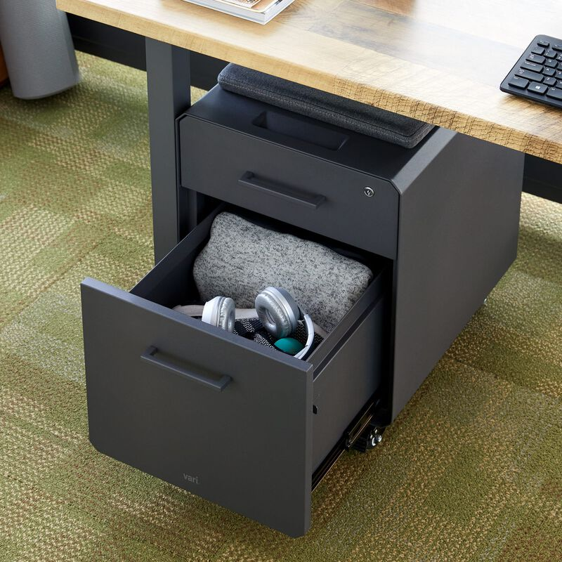 Storage Seat Slate under desk in office with bottom drawer open image number null