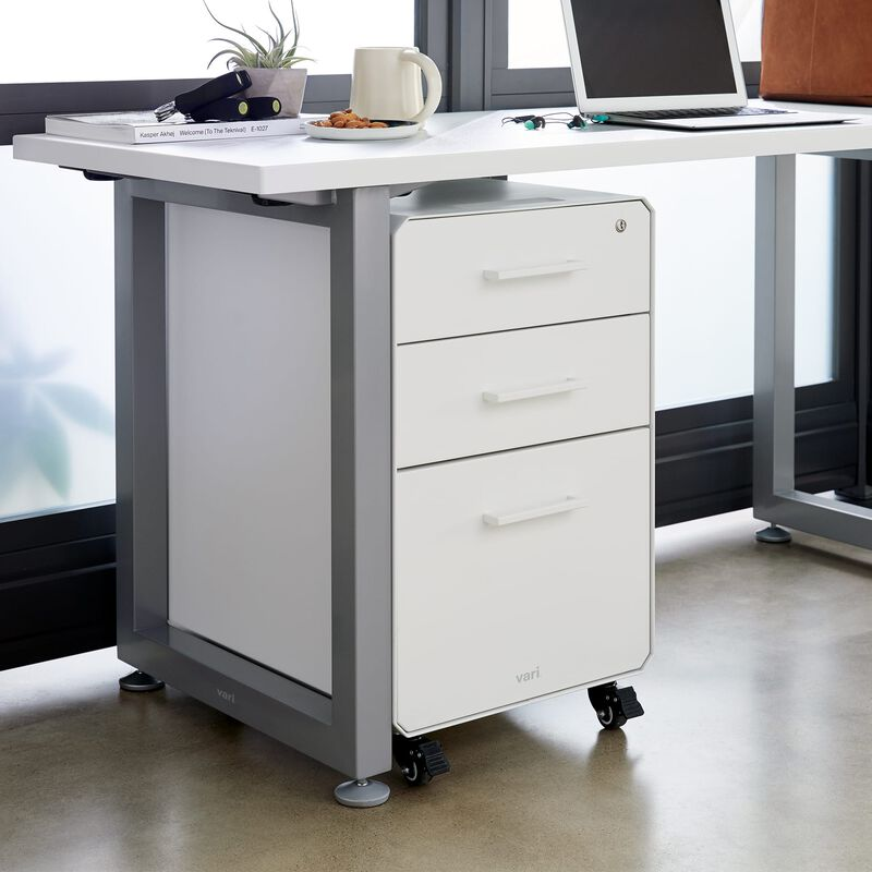 File Cabinet White with three drawers under desk image number null