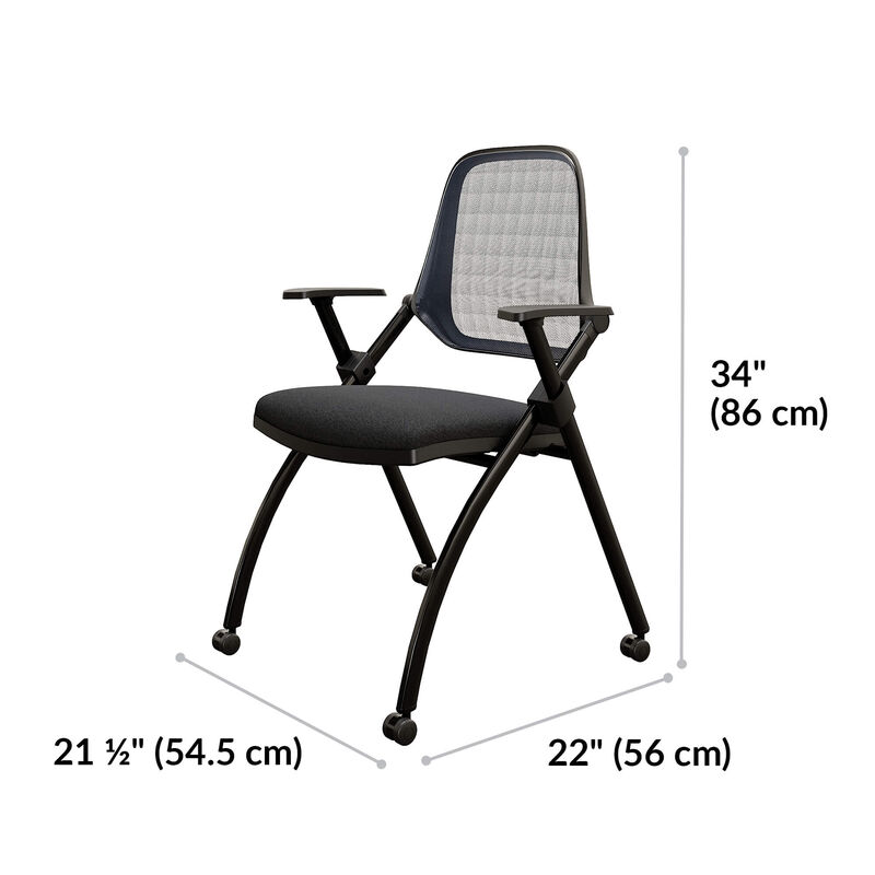 Nesting training chair is 34 inches tall. Between leg width is 21 and a half inches and between leg length is 22 inches image number null