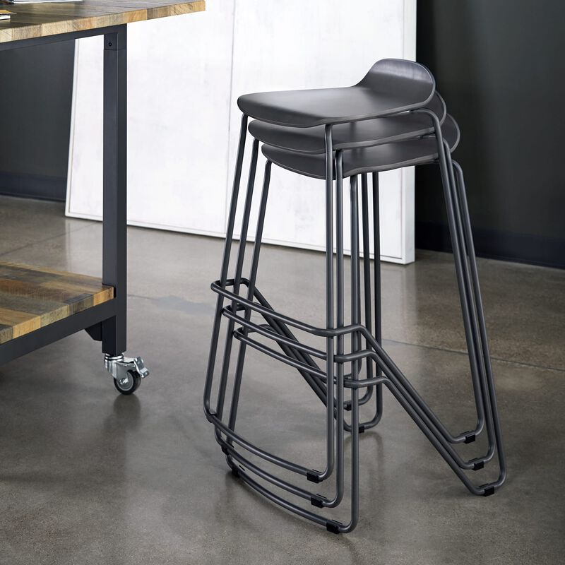 Wood Conference Stool Dark Gray stacked in office image number null