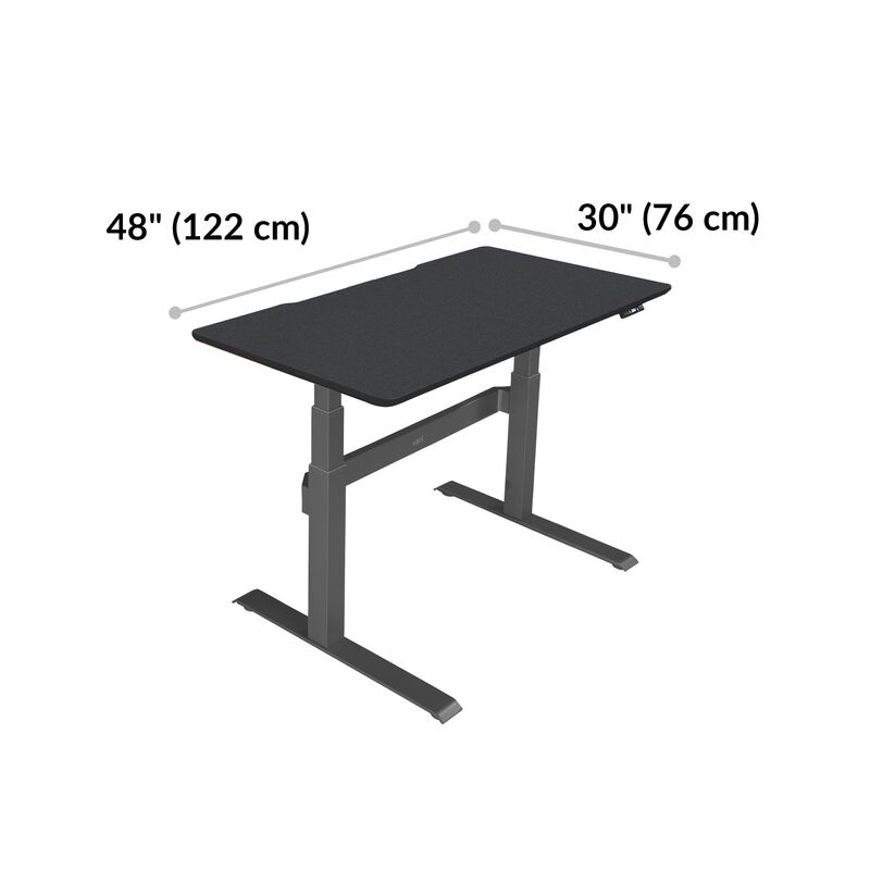 Electric Standing Desk 48x30 Black base is 30 inches deep and 48 inches wide image number null