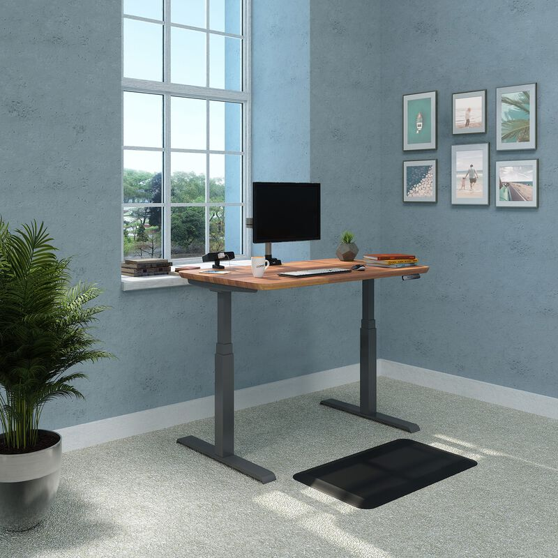vari electric standing desk 48 by 30 in butcher block in home office setting with accessories image number null