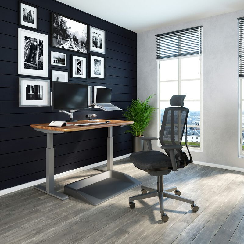 Office setup includes the Electric Standing Desk 48x30, task chair with headrest and accessories. image number null