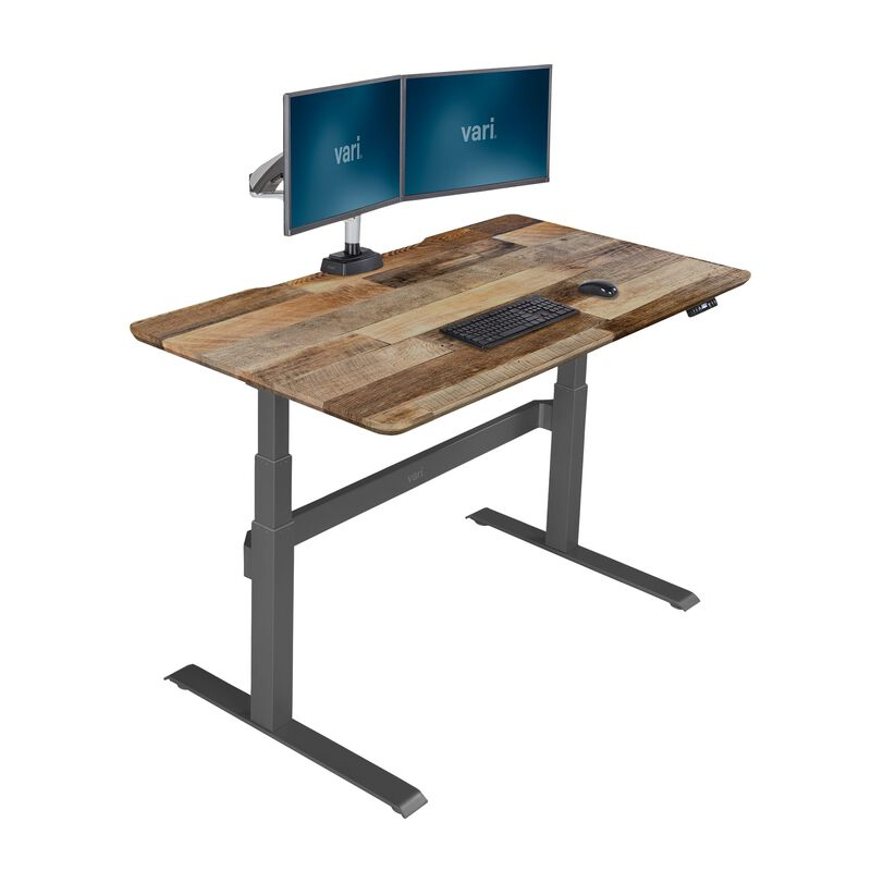 Electric Standing Desk 60x30 Reclaimed Wood in raised position image number null