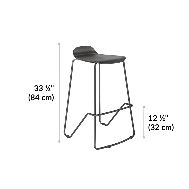 Wood Conference Stool Dark Gray dimensions, 33 1/8 inches high, footrest rung is 12 1/2 inches high image number null