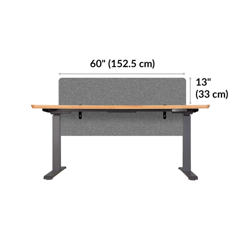 Privacy and Modesty Felt Panel 60 in Light Gray Felt is 60 inches wide and site 13 inches above tabletop when mounted image number null