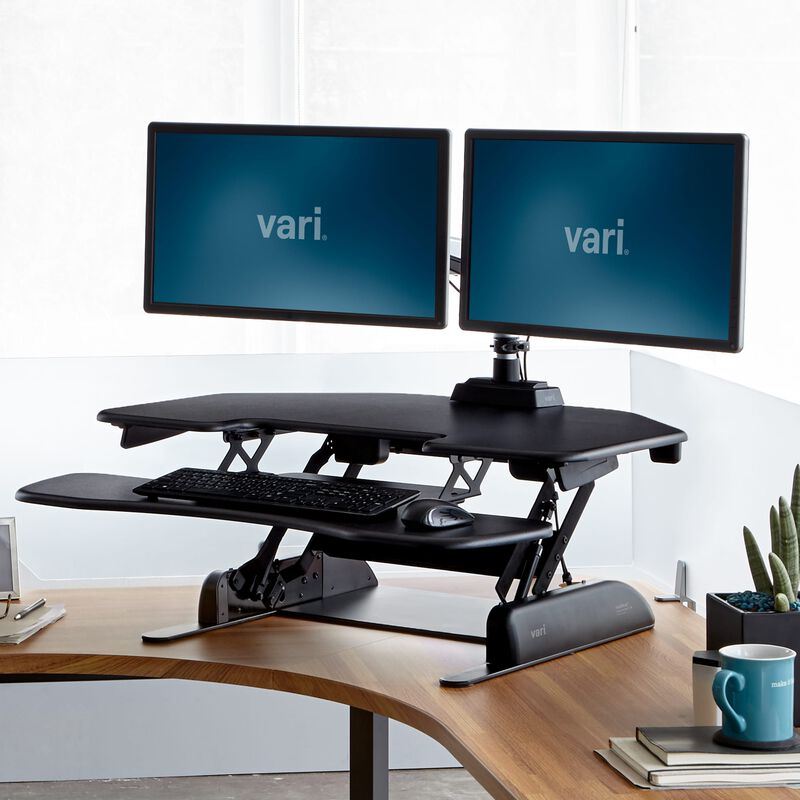 VariDesk® Cube Corner® 36 in raised position at office image number null