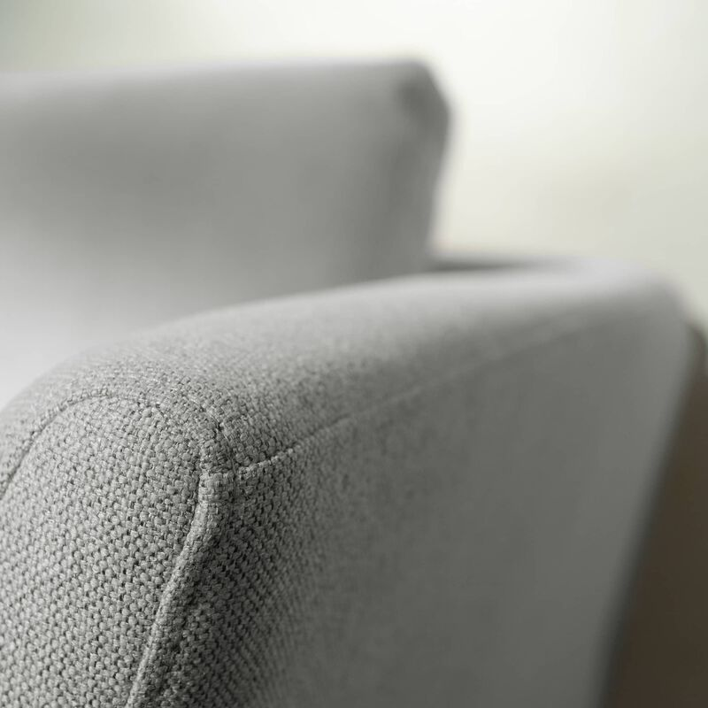 close up view of the contemporary three-seat sofa in silver grey  to show the polyester fabric image number null