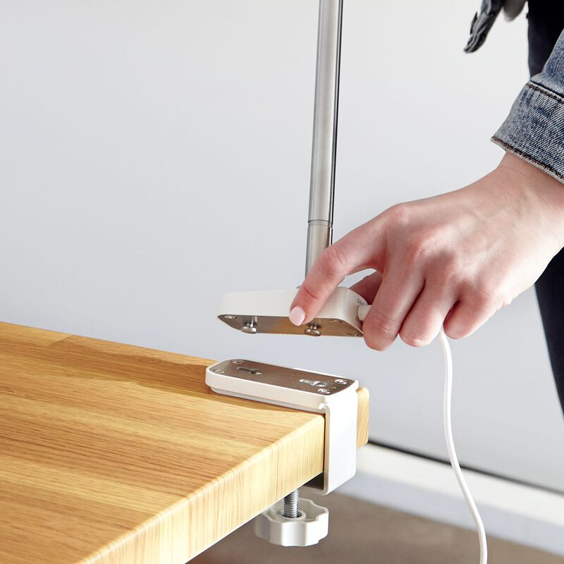 LED Task Lamp White in office being clamped onto desk image number null