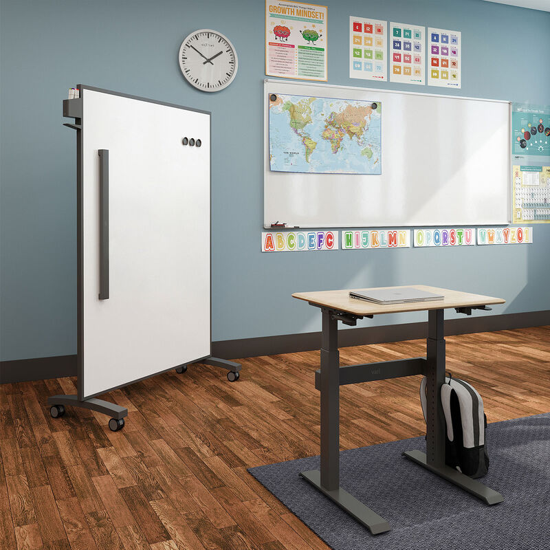 Sit-Stand School Desk 3-12 and Mobile White Board 48x66 in classroom image number null