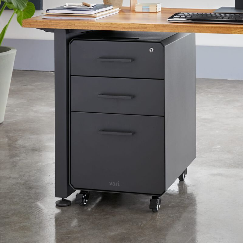 File Cabinet Slate with three drawers under desk image number null