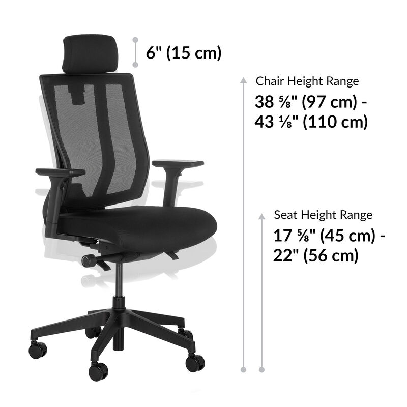 vari task chair with headrest seat height is 17 to 22 inches image number null