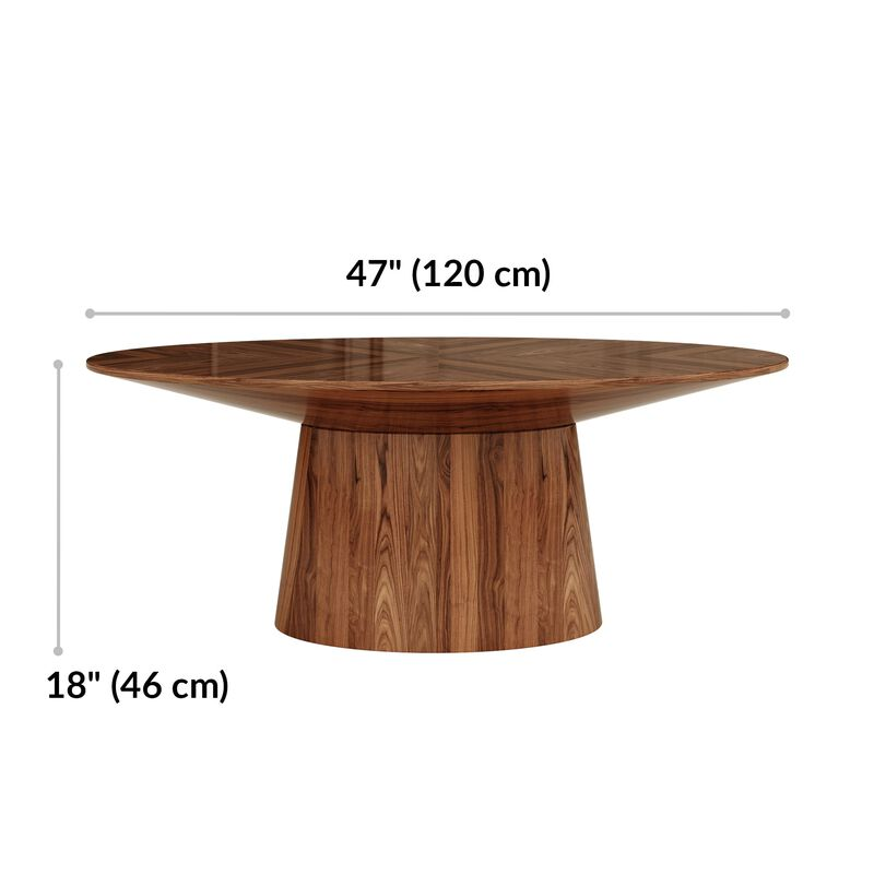 Coffee table is 47 inches wide and 18 inches tall image number null