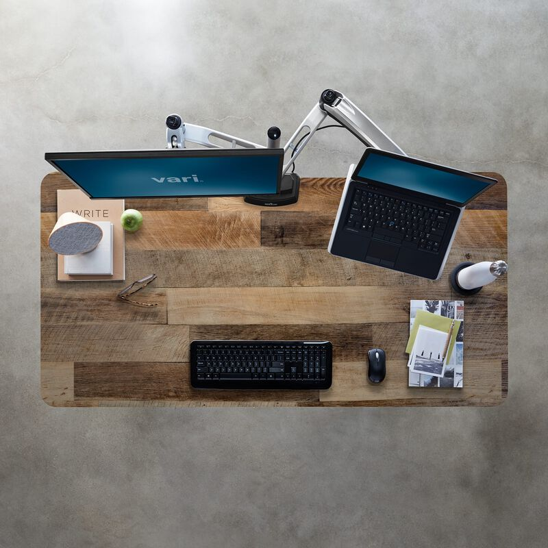 Overhead view of Electric Standing Desk 60x30 Reclaimed Wood image number null