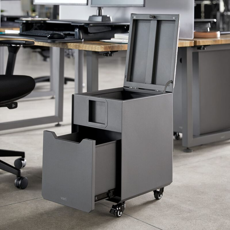 Locker Seat Slate with drawers open in office image number null