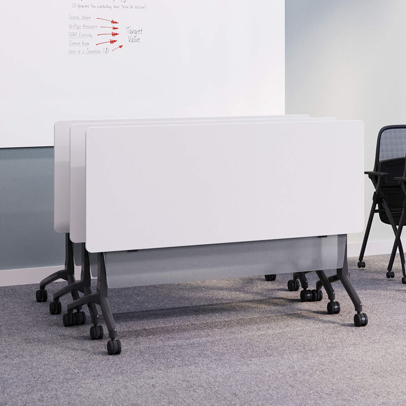 nested flip top training table with flip top training table modesty panel attached image number null