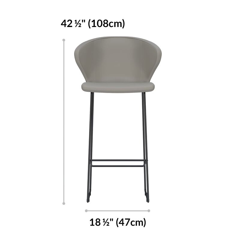 sand grey tall cafe chair is 42 and a half inches tall and 18 and a half inches wide image number null