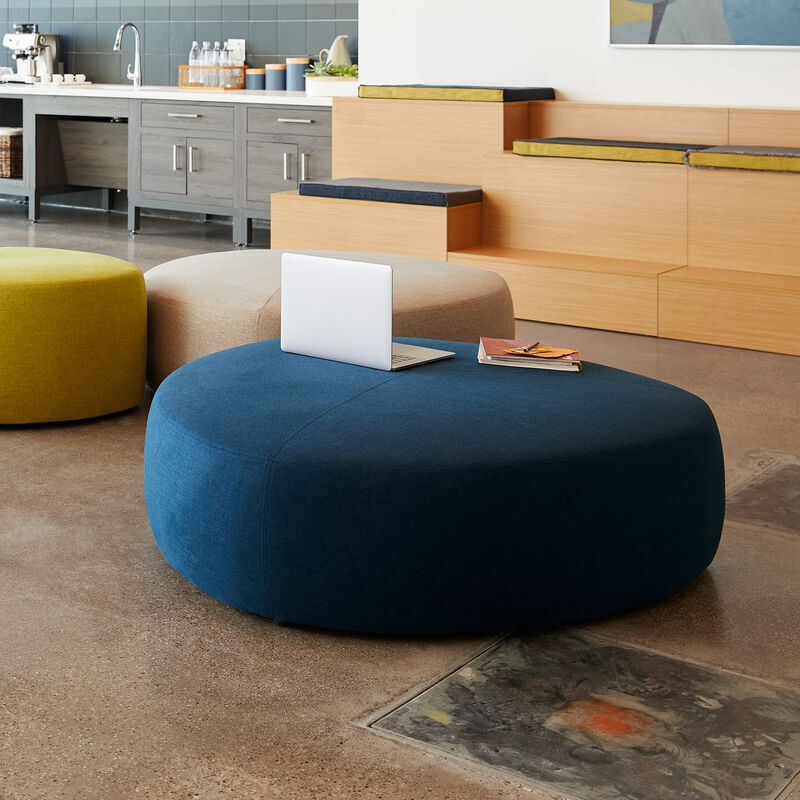 navy large ottoman in office setting image number null