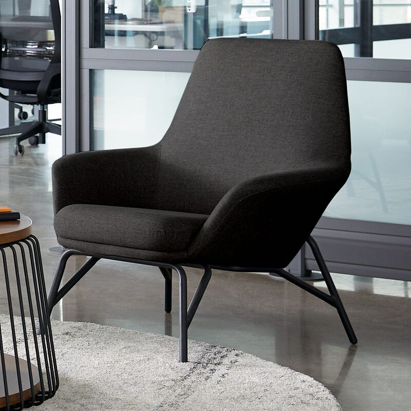 deep grey arm chair in office setting image number null