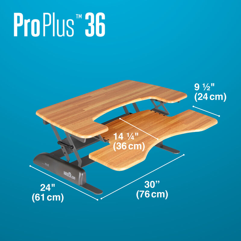 VariDesk Pro Plus 36 Butcher Block depth of desk base is 24 inches deep image number null