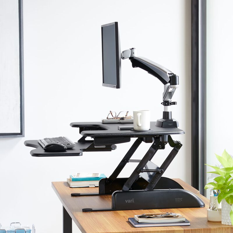 Single-Monitor Arm mounted to Varidesk sit-stand converter with monitor image number null