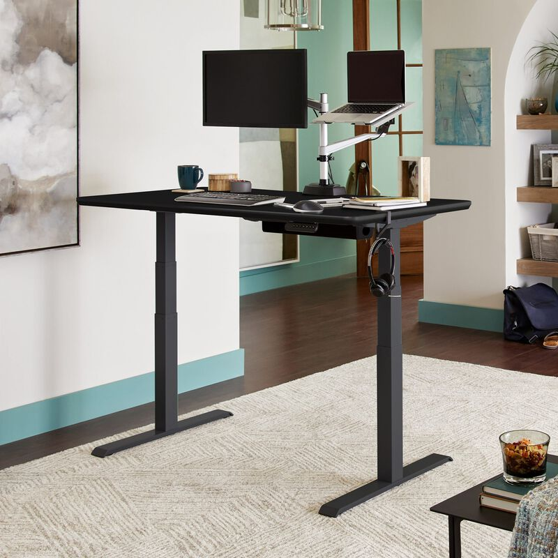 Electric Standing Desk 60x30 Black in raised position at home image number null