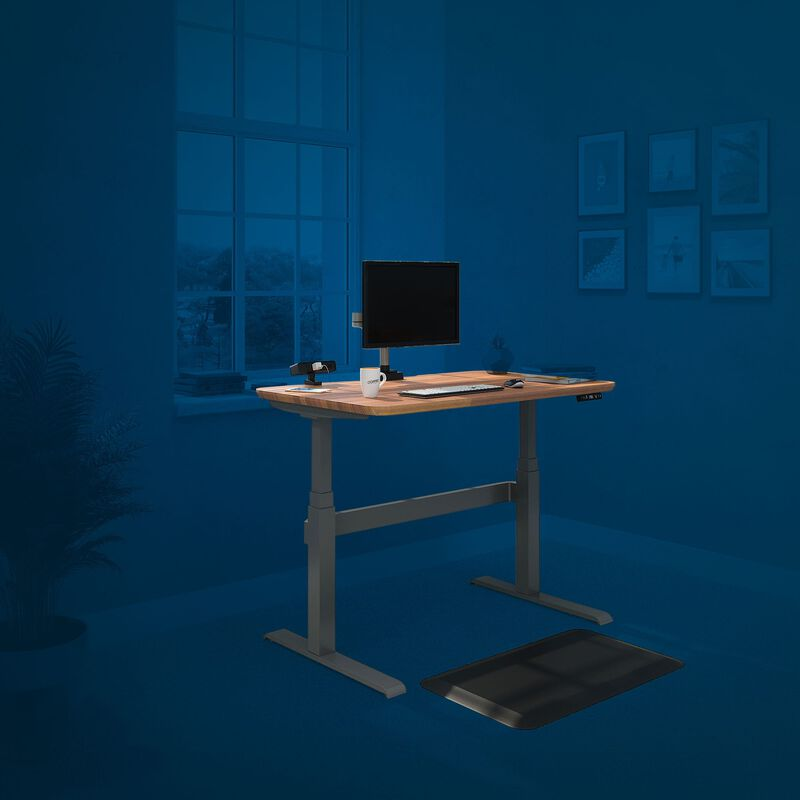 Home office that is outfitted with Electric Standing Desk and accessories. image number null
