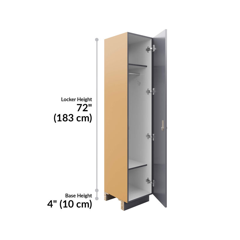 storm grey locker is seventy-two inches in height and the base is four inches image number null